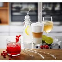 Set 4 ukrivljenih steklenih  slamic (dolžina 23 cm)