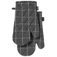 Set dveh rokavic za vročo posodo iz recikliranega bombaža 18 x 33 cm Eco Check, siv