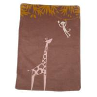 Odeja Maja 75 x 100 cm  iz organskega bombaža, žirafa in opica - rjava
