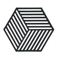 Šestkotni silikonski podstavek črte, črn