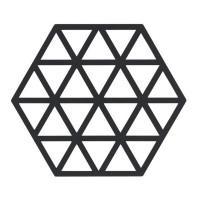 Šestkotni silikonski podstavek trikotniki, črn