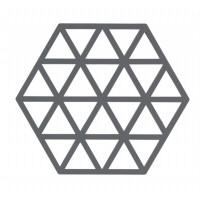 Šestkotni silikonski podstavek trikotniki, temno siv