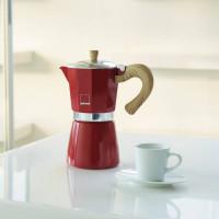 Kafetiera Venezia za 3 skodelice kave primerna za indukcijo, rdeča