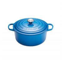 Okrogla posoda z jeklenim gumbom 24 cm, modra