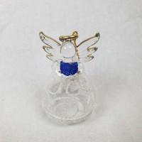 Angel v darilni embalaži, trebušast, čipka, modra knjiga v rokah