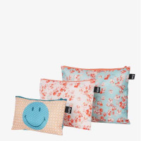 LOQI set 3 žepkov z zadrgo Zip Pockets Smiley Blossom in Geometric, Recycled