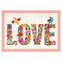 Čestitka – kartica, Lovebirds