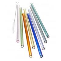 Set 8 barvitih steklenih slamic (dolžina 23 cm)