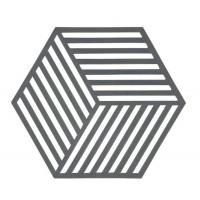 Šestkotni silikonski podstavek črte, temno siv