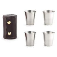 Set 4 kozarčkov za žgane pijače v usnjenem etuiju