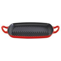 Pravokotna gril plošča 30 cm, rdeča