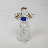 Zvonček angel v darilni embalaži, čipka, modra knjiga v rokah