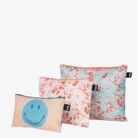 LOQI set 3 žepkov z zadrgo Zip Pockets Smiley Blossom in Geometric, Recycled