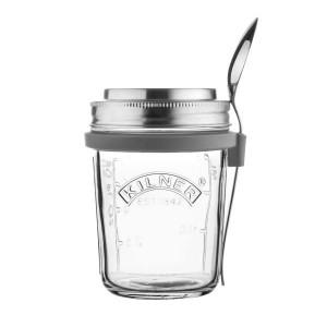 Stekleni kozarček za malico z žličko Kilner, 0,35 litra
